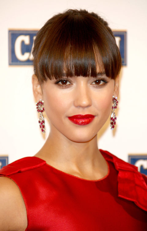 Jessica Alba Classic Updo Hairstyle with Straight Bangs