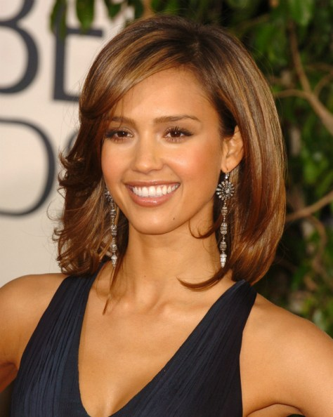 Jessica Alba Shoulder Length Hairstyles Bob Look