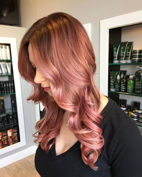 Rose Gold Highlights For Medium Hairstyles