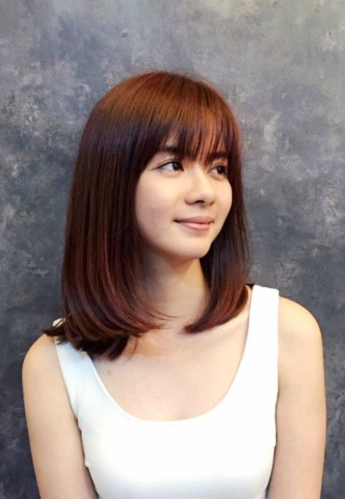 Shoulder Length Bob Cut With Bangs Hairstyle