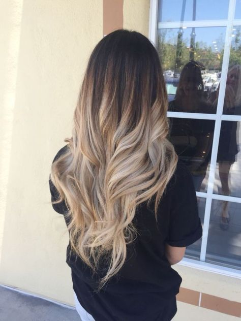 Brown to Blonde Ombre Long Hair