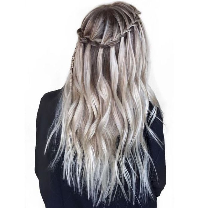 Silver Blonde Waterfall Braid Hairstyle