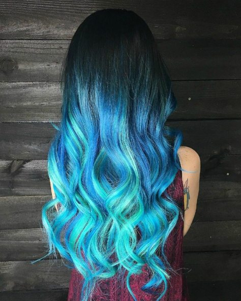 Blue Ombre Long Wavy Hair