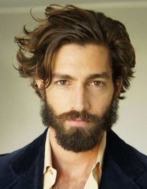 Long Wavy Hairstyle for Men with Beards