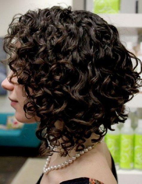 Angled Curly Bob
