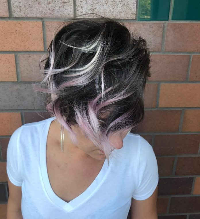 Wavy Bob with Lavender Highlights