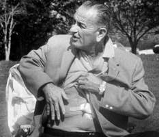 Lyndon B. Johnson shows off his gallbladder scar