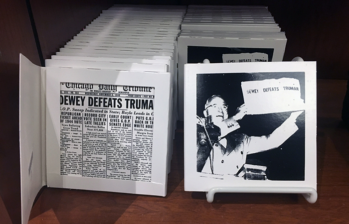 """Dewey Defeats Truman"" ceramic tiles"
