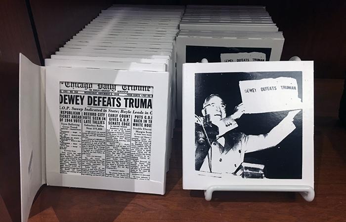 """Dewey Defeats Truman"" ceramic tiles"