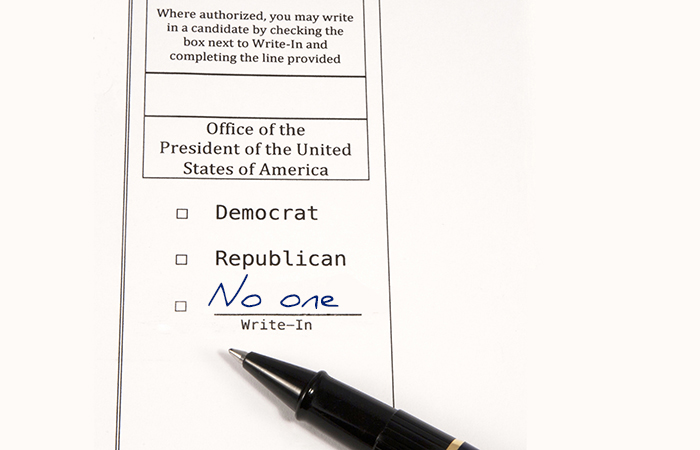 "Ballot with ""no one"" written in"