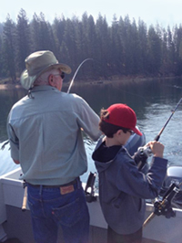 Fish on for Grandpa Fred & Kid