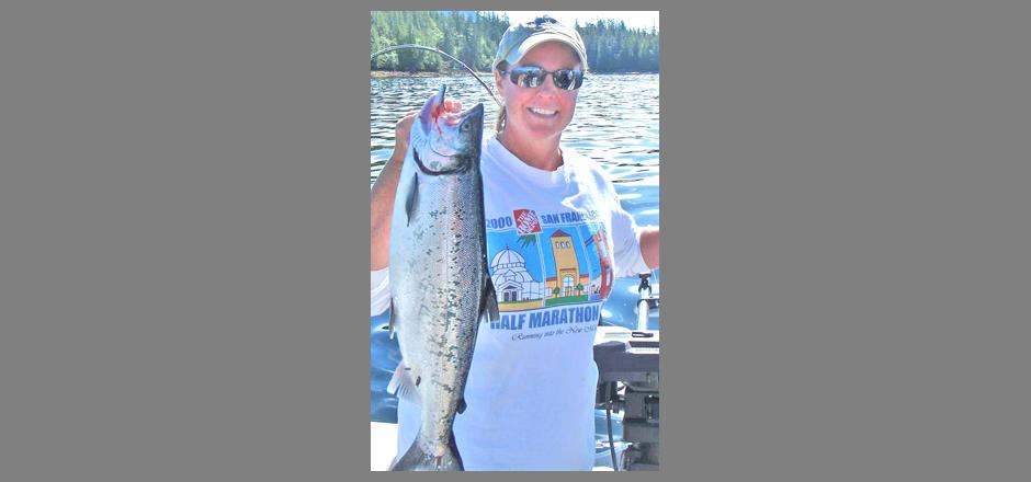 Taira caught a salmon in Alaska