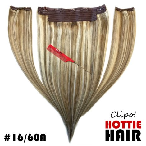 Clipo Hair Extensions Front Full 16 60A halo clip in
