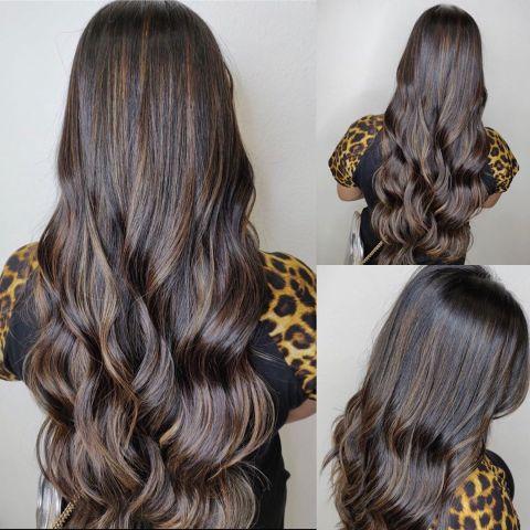 Partial Hair Highlights Dark-Brown Medium Brown Long Hair