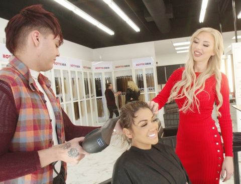 Client getting hair services at Hottie Hair Salon Las Vegas & hair extensions Las Vegas hair store near me
