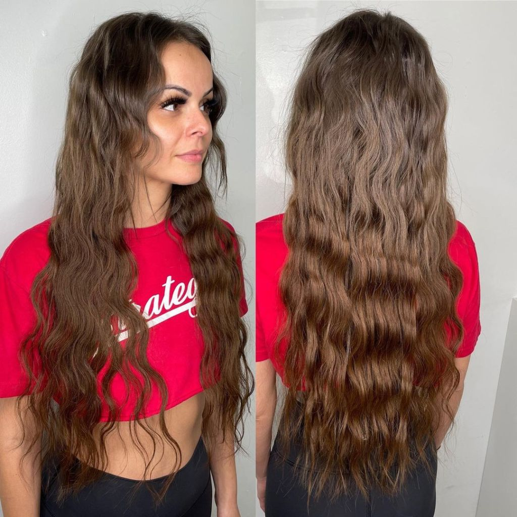 24 Inch Brown Beaded Weft Russian Hair Extensions Installed On Women