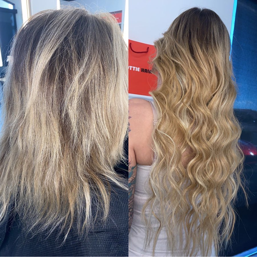 24 Inch Medium Blonde Beaded Weft Russian Hair Extensions Installed On Women 1