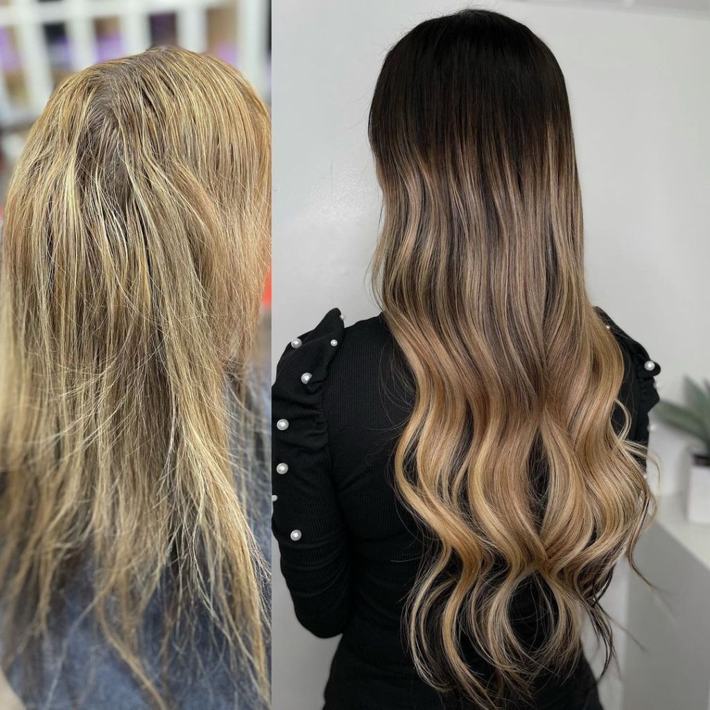 Before After 22 Inch Russian Virgin I Tip Hair Extensions Installed On A Women 1