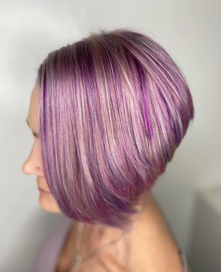 short hair a frame bob haircut purple
