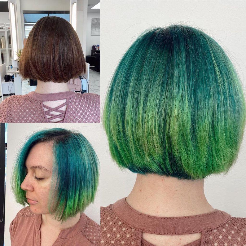 short hair bob haircut green balayage