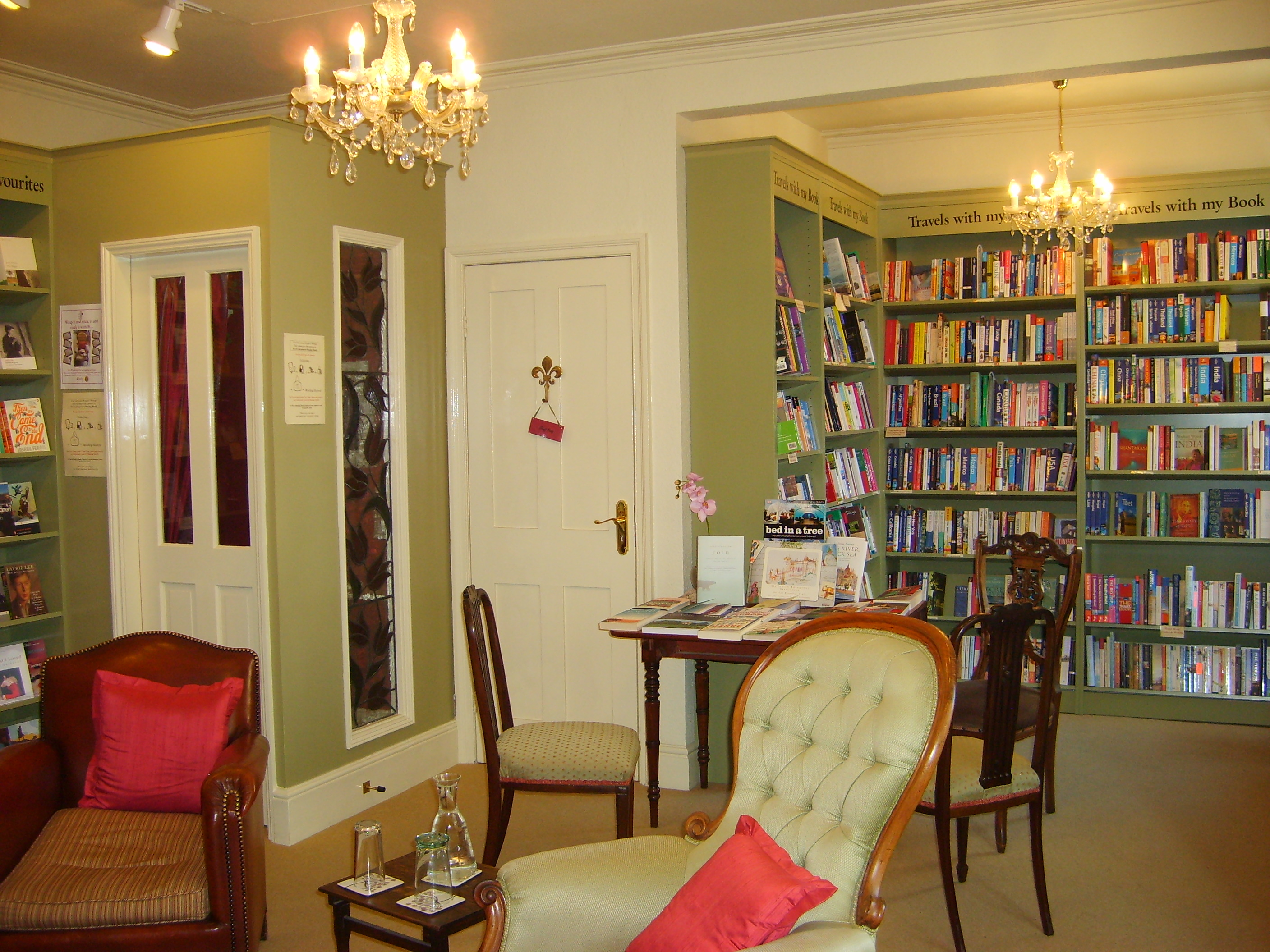 """The famed """"Bibliotherapy Room"""" at Mr B's Bookshop in Bath features free coffee and a fireplace"""