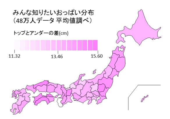 都道府県おっぱい分布(グラデーション)