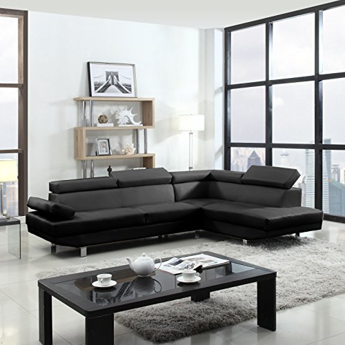 2 Piece Modern Contemporary Faux Leather Sectional Sofa Black : faux leather sectional sofa - Sectionals, Sofas & Couches
