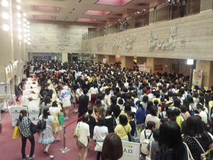 The crowd leaving the hall at Tenimyu.