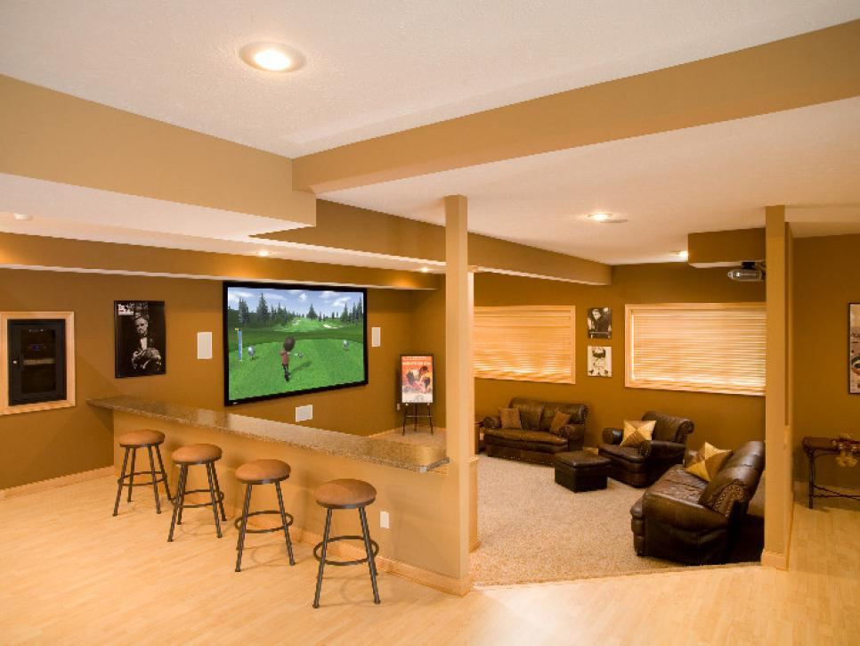 unfinished basement home theater