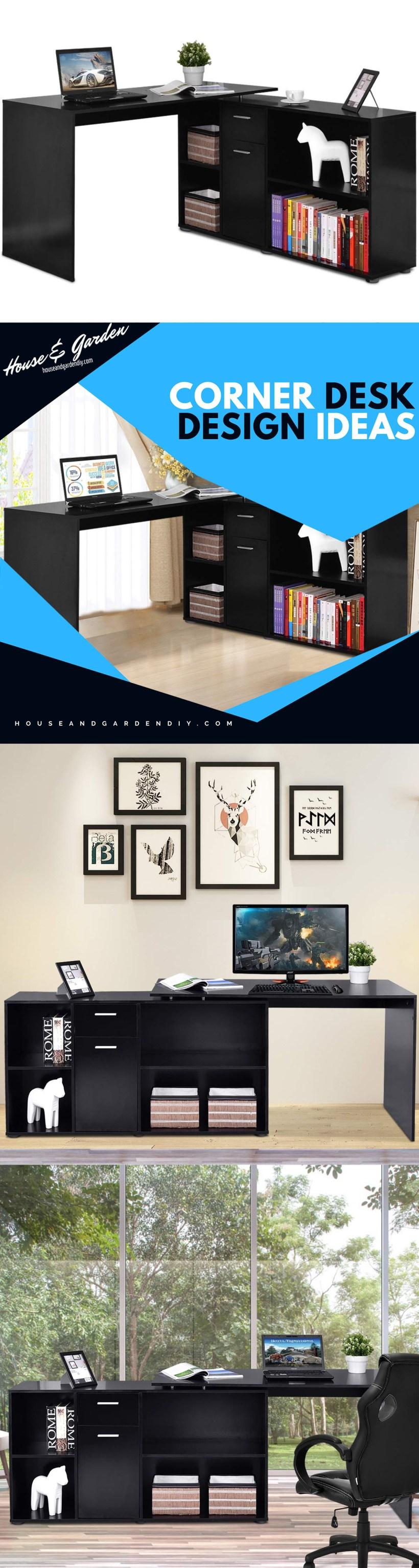 built in corner desk designs