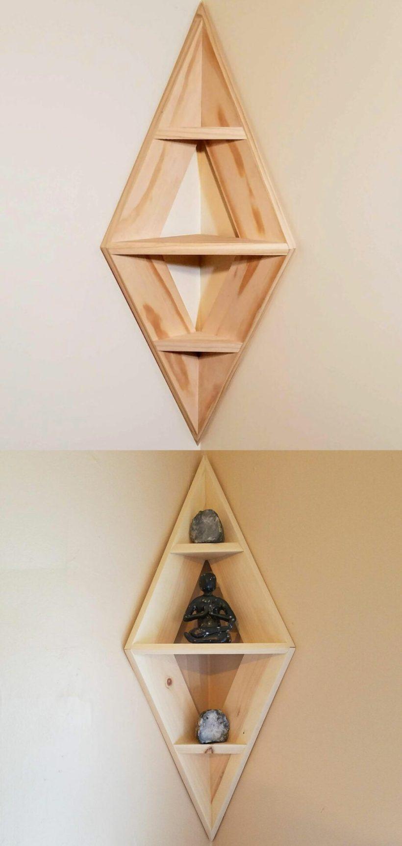ideas de estantería de esquina de dormitorio