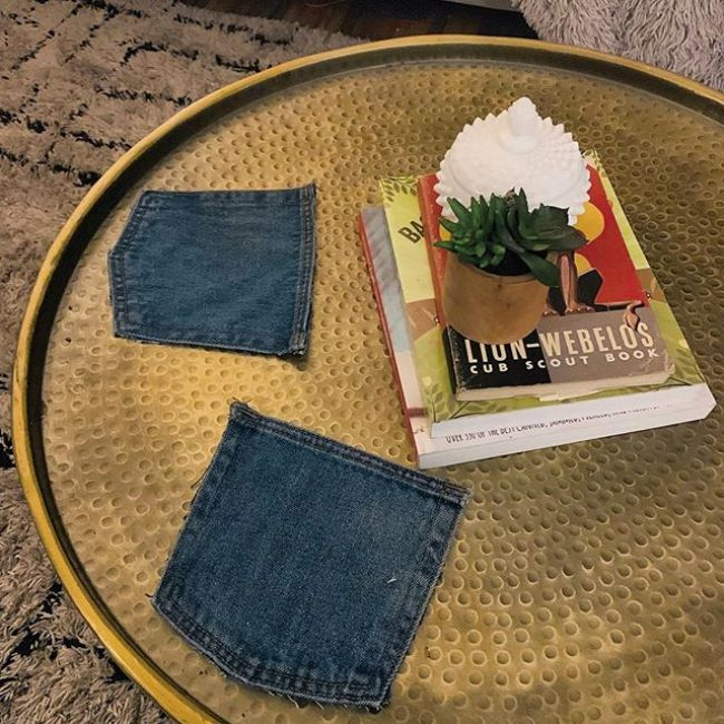 Blue Jean Coasters (with the pockets) inspired by a good friend. These are actually genius and super easy to clean. Reusable. Go make some!