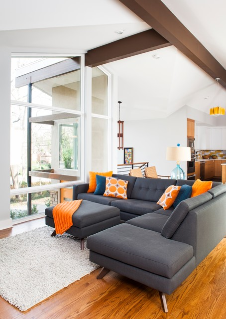 Fashionable Grey Sofas Which Underlines The All White Interior Color HouseBeauty