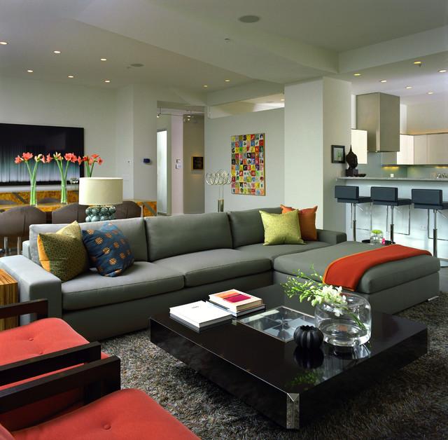 Modish Gray Sectional Sofa Matches For Mono Bright