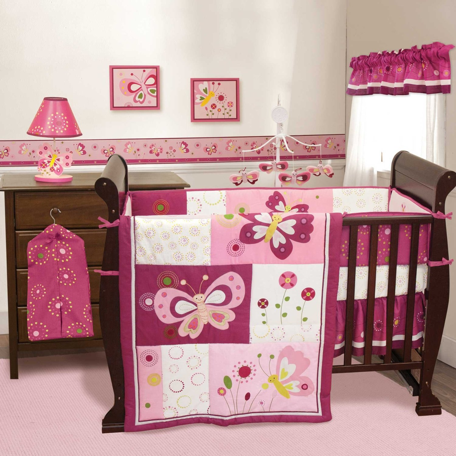 Lovely Girl Crib Bedding With Girlish Ornaments And
