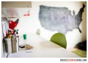 DIY U.S chalkboard and organized kid craft room