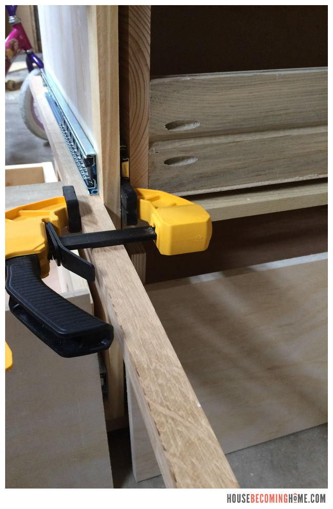 DIY Dresser installing drawer slides