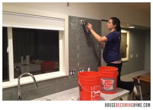 DIY Kitchen Reno Grouting Tile