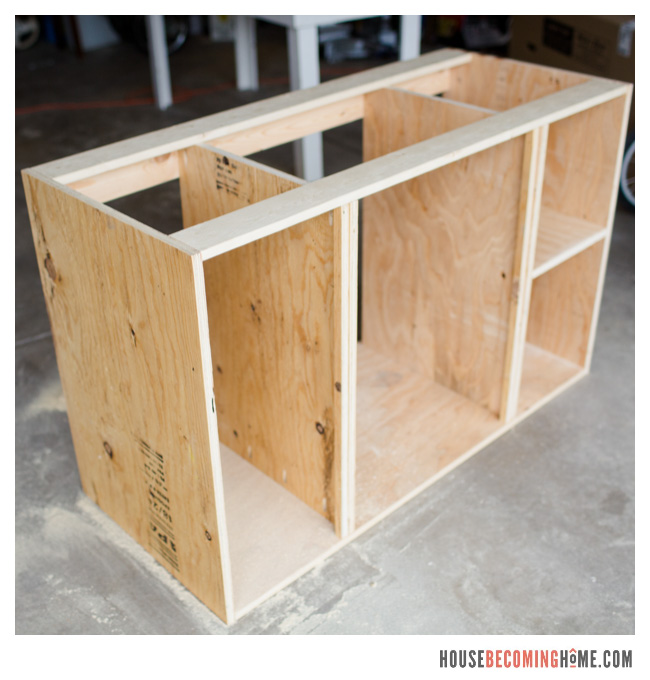 Diy bathroom vanity shaker style doors house becoming home - Unfinished shaker bathroom vanity ...