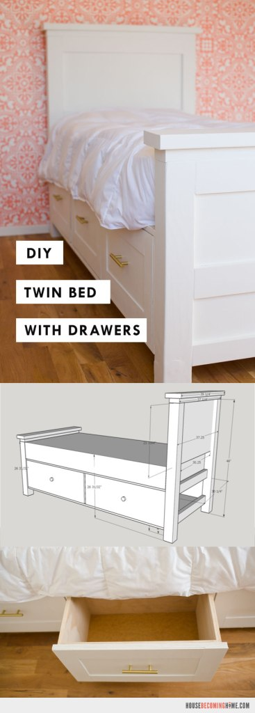 Diy Twin Bed With Storage Drawers House Becoming Home