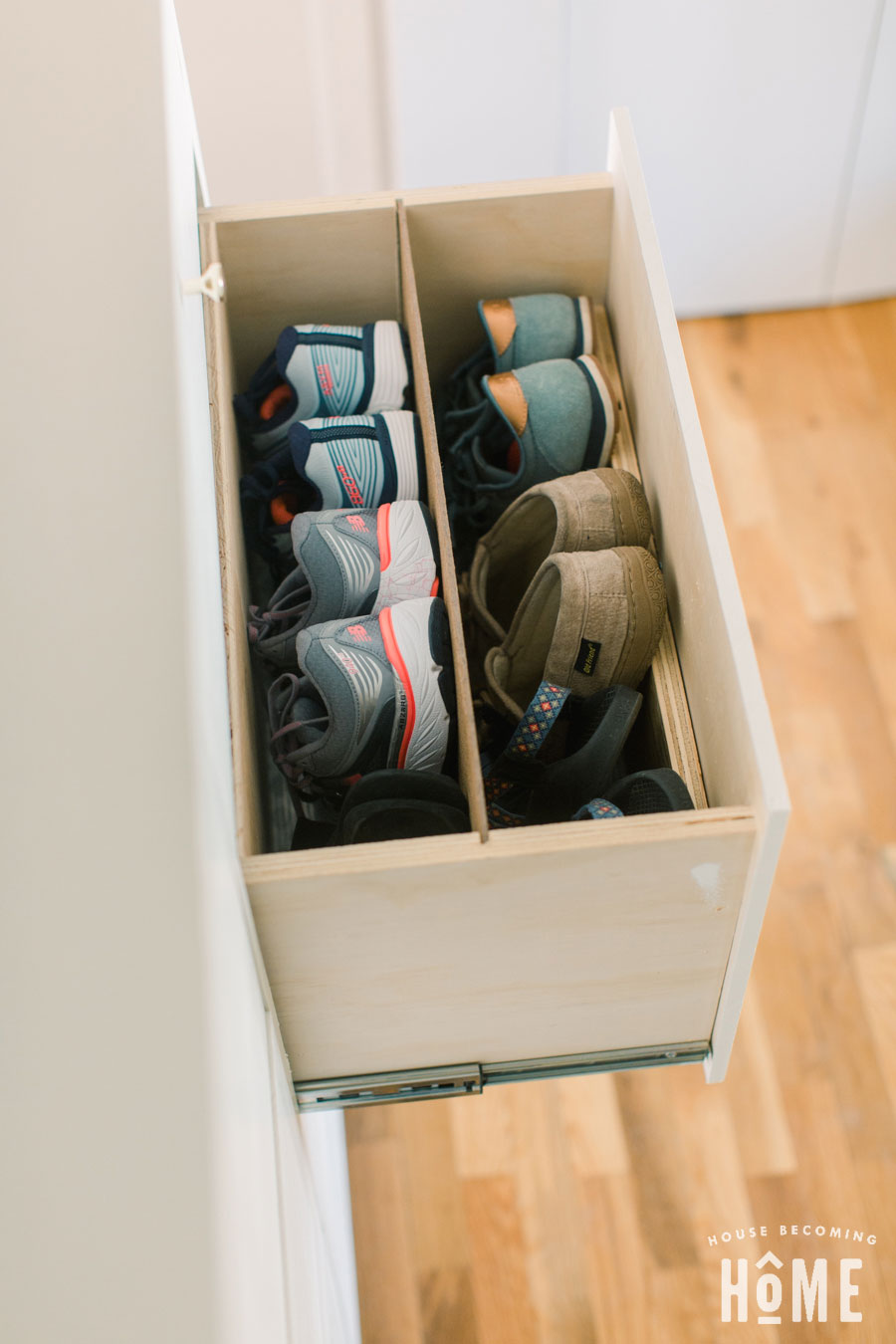 DIY Shoe Cabinet with drawer divided for two rows of shoes