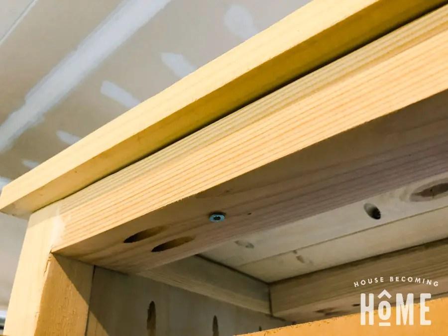 DIY shoe cabinet attaching top