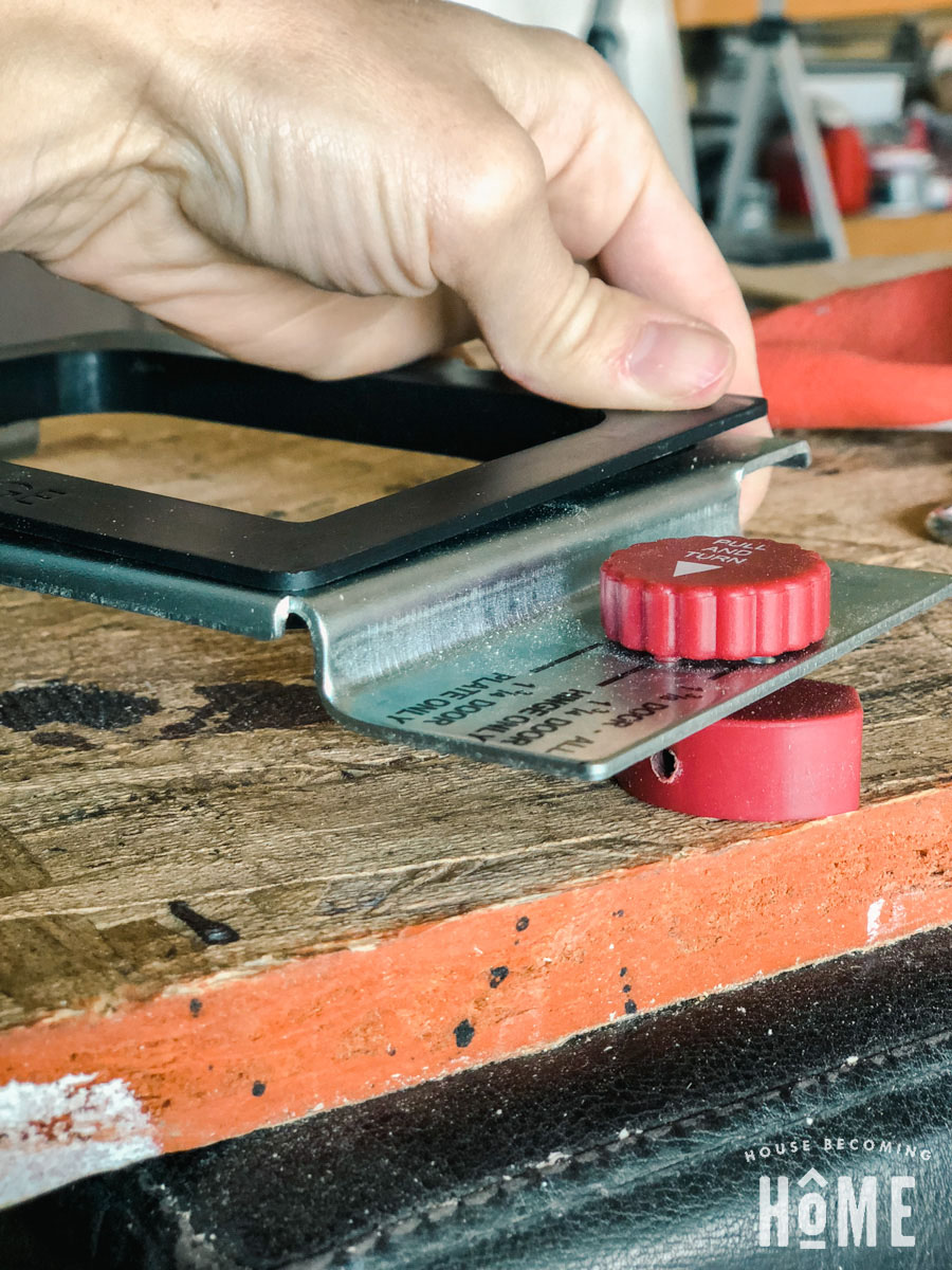 Milescraft Mortising Jig inserting hinge template