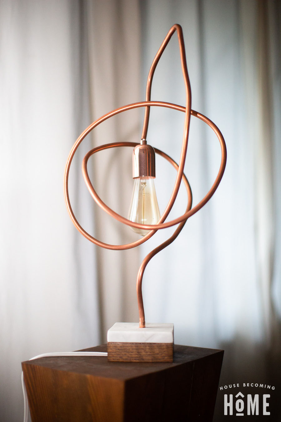 Twisted Copper Pipe DIY modern light