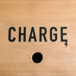 Charge Icon printed on Wood Charging Station