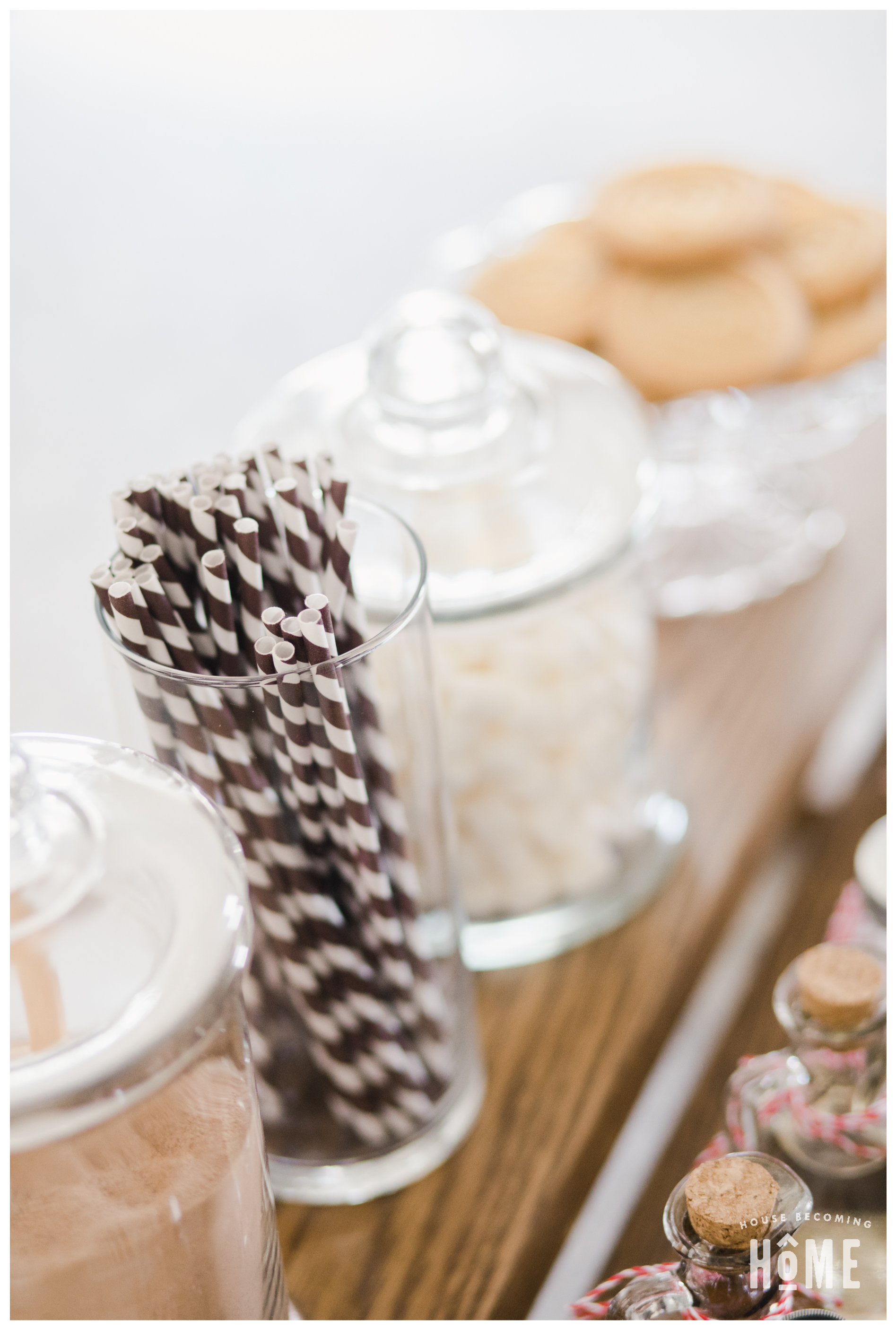 Hot Cocoa Bar with Brown and White Paper Straws in glass vase