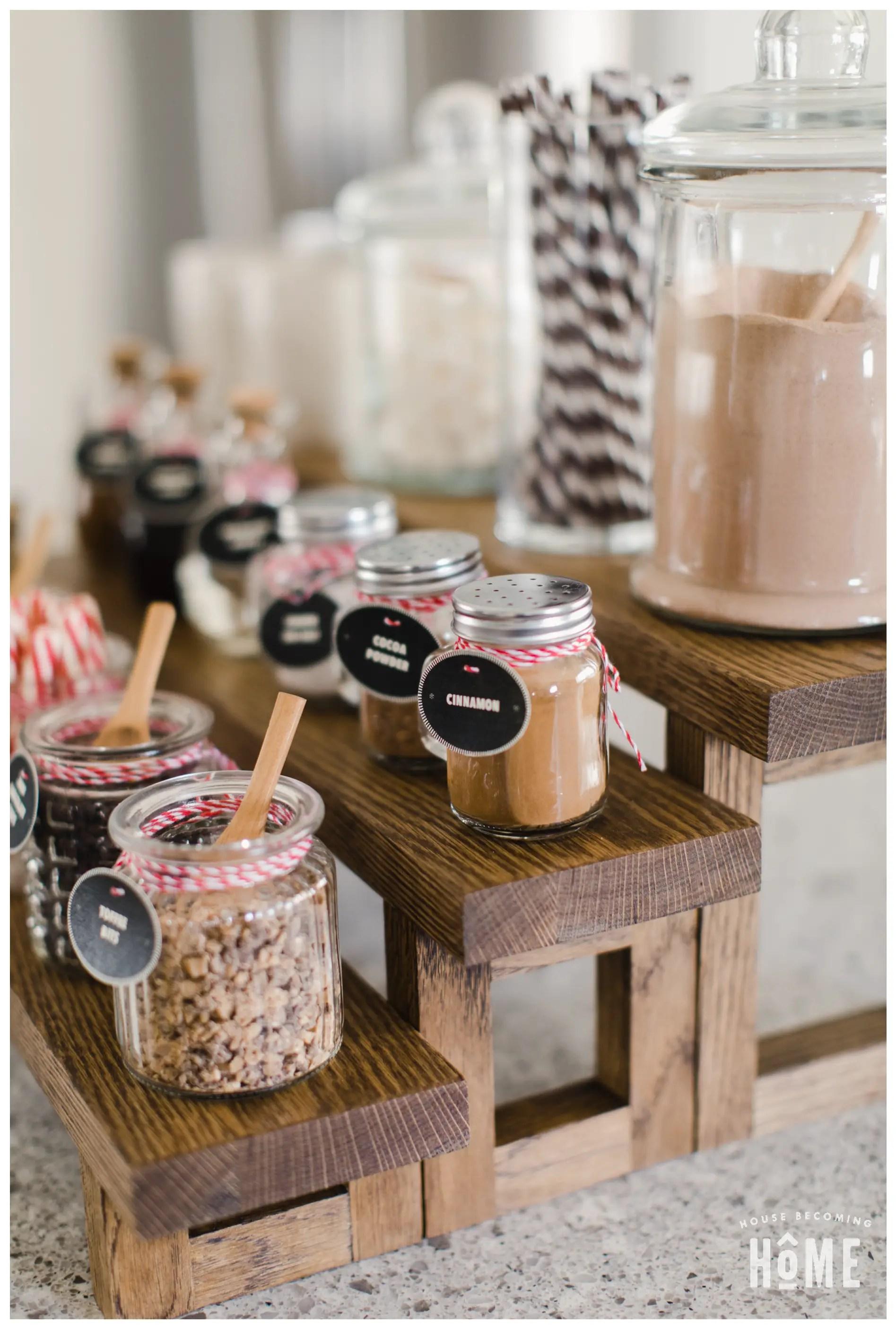Hot Cocoa Bar Ideas for Items to Include : cinnamon, cocoa powder, coarse sea salt
