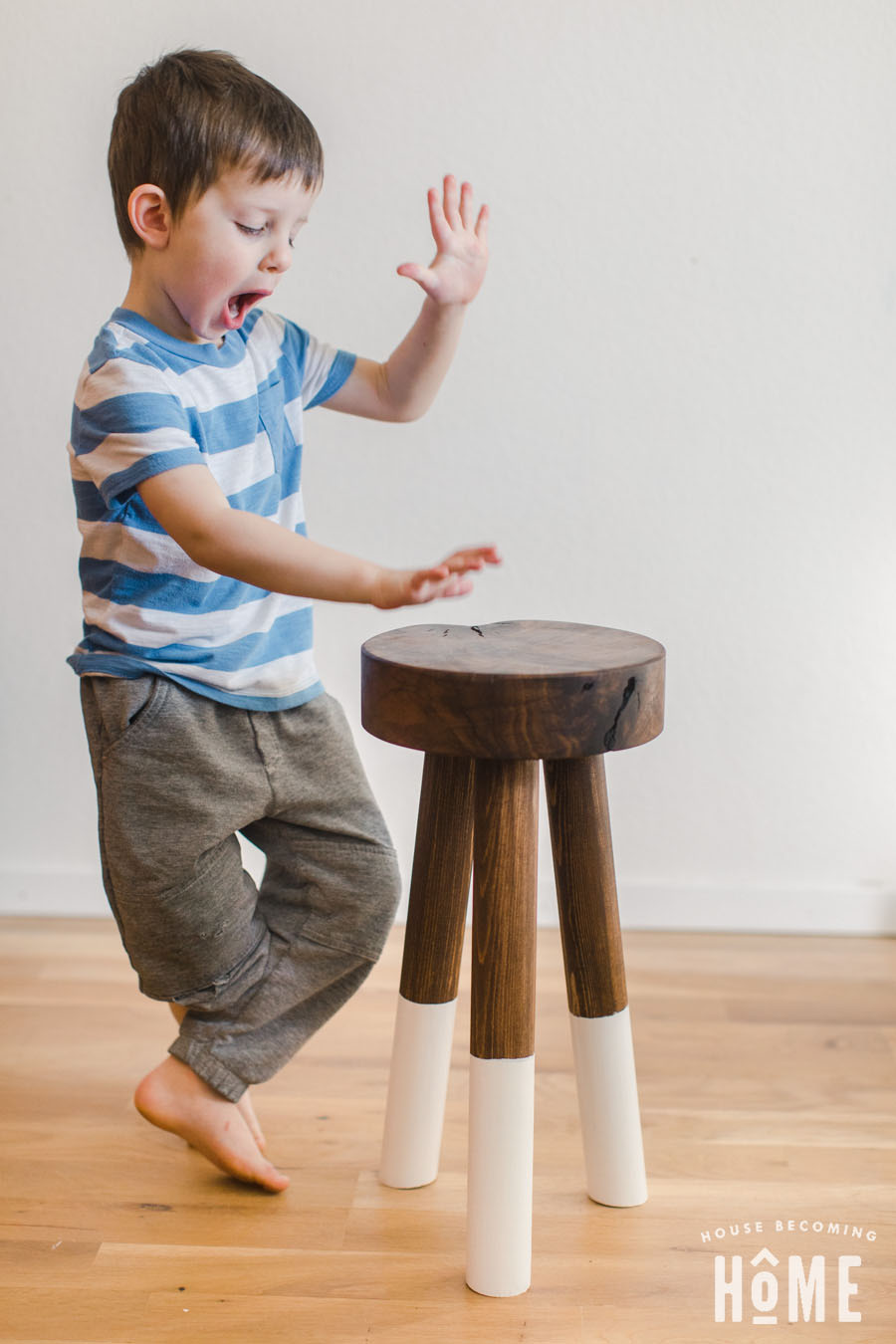 DIY Sturdy Stool with angled legs