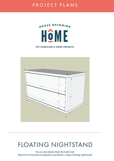 Free Furniture Plans for Modern Floating Nightstand. A free printable PDF