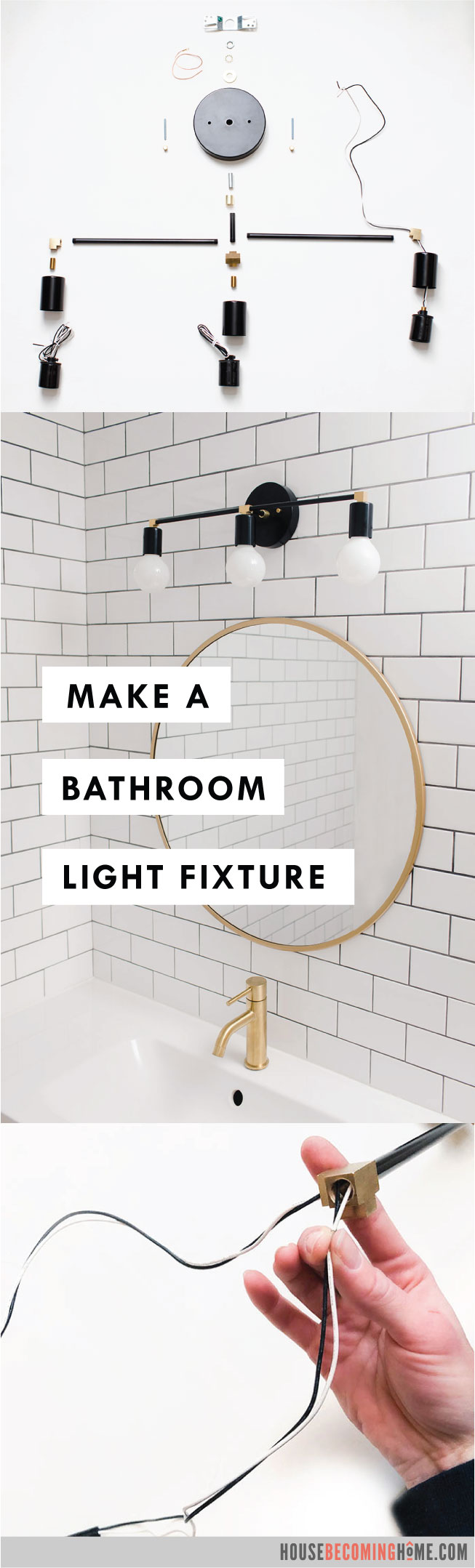 How to Make a Modern Black and Brass Bathroom Light Fixture : A step by step tutorial with a complete supply list.